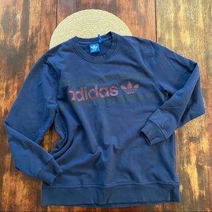 Navy Adidas logo pullover sweatshirt